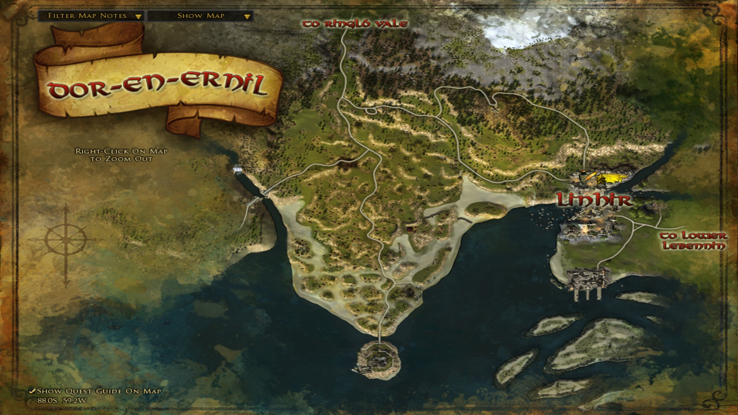 The maps of Central Gondor - Lina's biscuity burrow
